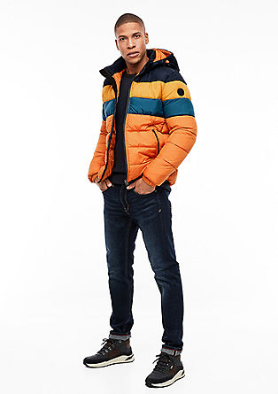 Quilted jacket with colour blocking
