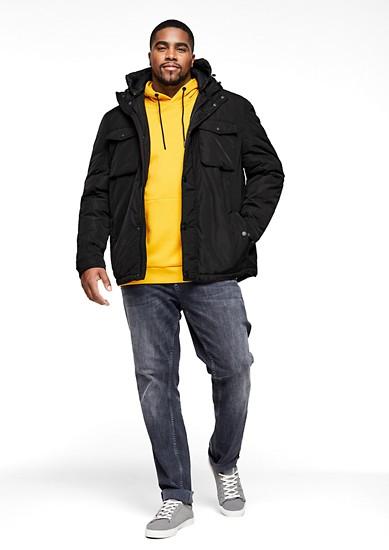 Warme Jacke mit Doppel-Kapuze