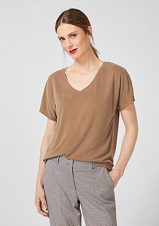 V-neck T-shirt with a velvety look from s.Oliver
