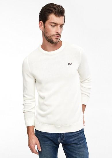 Bavlněný pulovr s žebrovými náplety