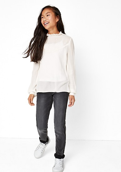 High-neck crêpe blouse top from s.Oliver