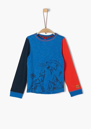 Colourblocking-Shirt mit Print