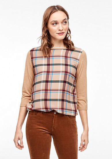 3/4-Arm-Shirt mit Blusenfront