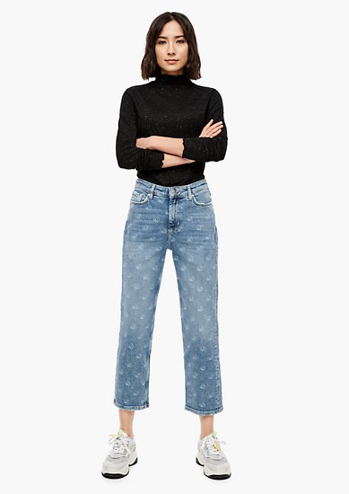 Cropped Straight: Jeans mit Laser-Print
