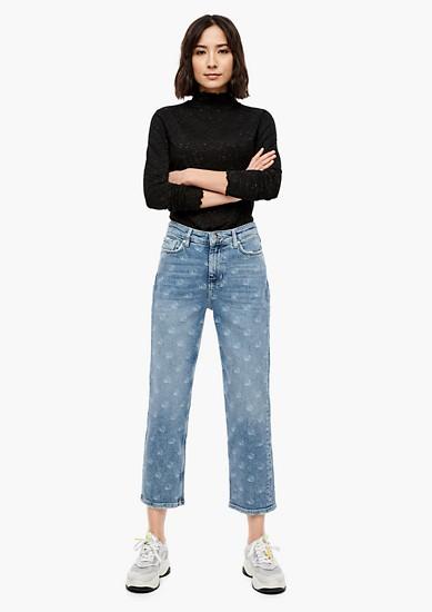Cropped Straight: jean à imprimé au laser de s.Oliver