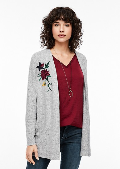 Melange sweatshirt jacket with embroidery from s.Oliver