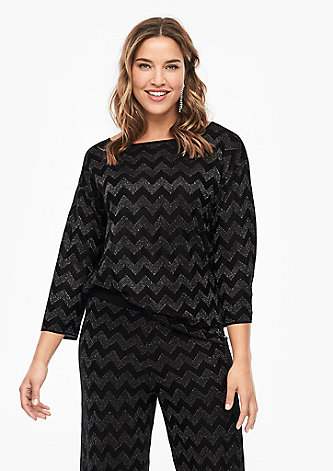 Pullover mit Metallic-Muster