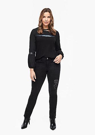 Curvy Slim Leg: Jeans mit Pailletten