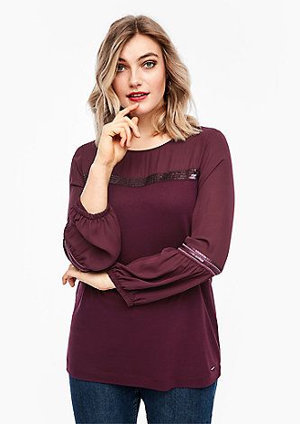 Fabricmix-Shirt mit Pailletten
