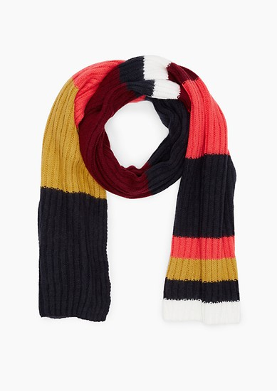 Colour block rib knit scarf from s.Oliver