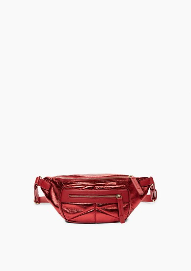 Doorgestikte hip bag in metallic