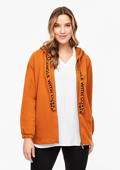 Sweatjacke mit Statement-Bändern