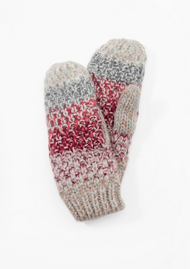 Colourful melange knit mittens from s.Oliver