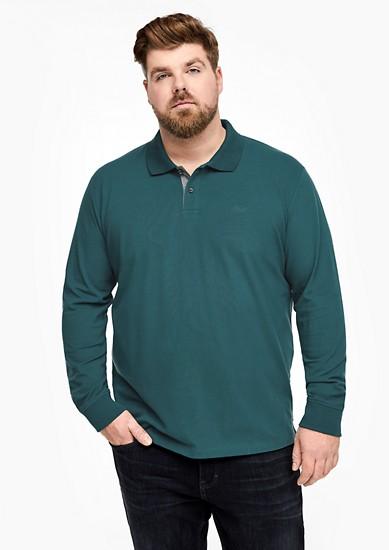 Langarm-Poloshirt aus Baumwollstretch