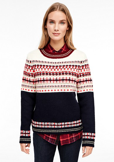 Wollmix-Pullover mit Jacquard