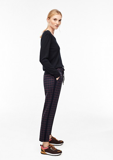 7/8-length trousers with glittering checks from s.Oliver