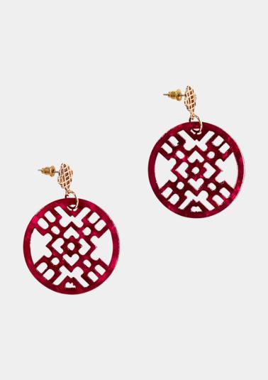 Boucles d'oreilles circulaires à motif fantaisie de Comma