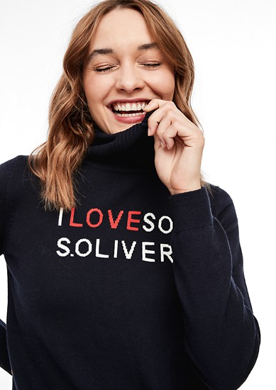Polo neck jumper with lettering from s.Oliver
