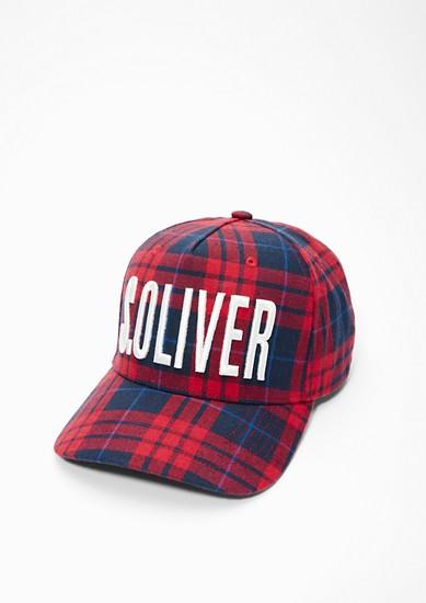 Karierte Cap mit Label-Stitching