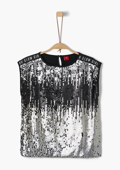 Jerseyshirt mit Pailletten-Front