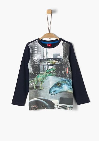 Langarmshirt mit Dino-Fotoprint