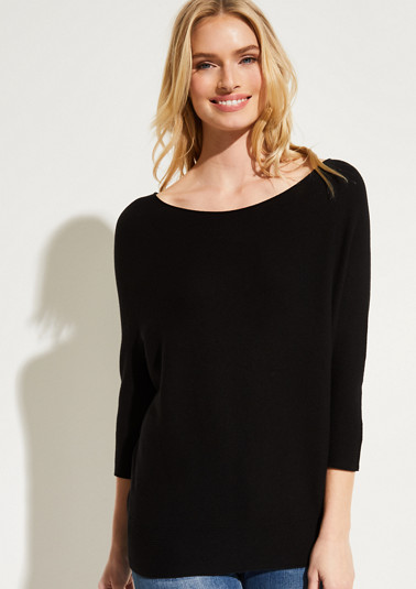 Fine knit jumper with 3/4-length sleeves from comma