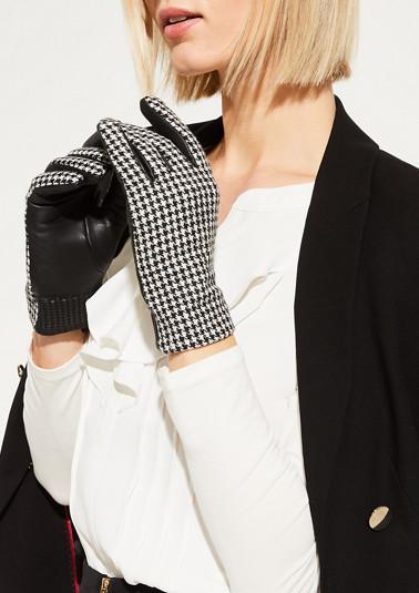 Lederhandschuhe mit Stoffbesatz