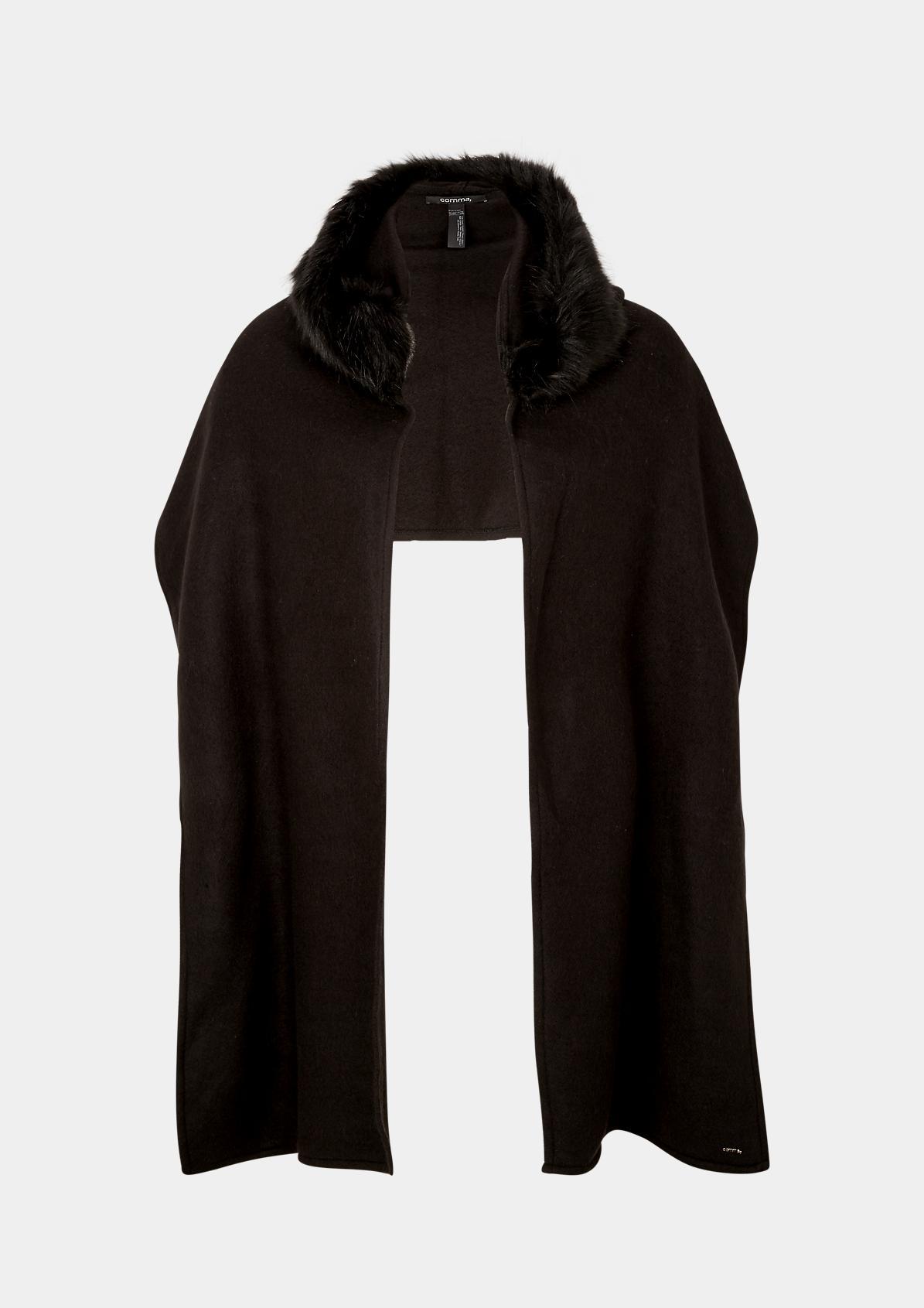 Schal mit kunstfellverzierter Kapuze