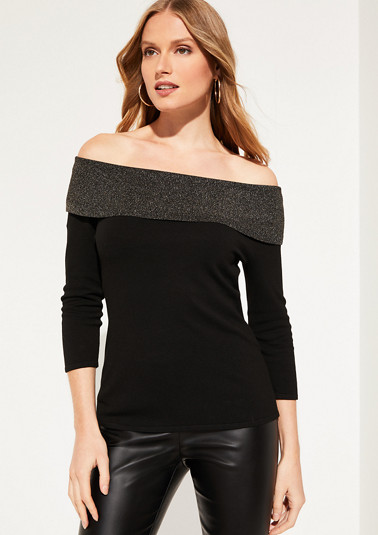 Fine knit jumper with a glittering cowl neckline from comma