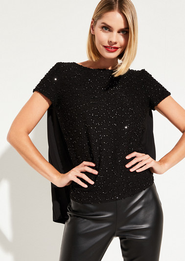 Short sleeve T-shirt in a material mix with sequin embellishments from comma