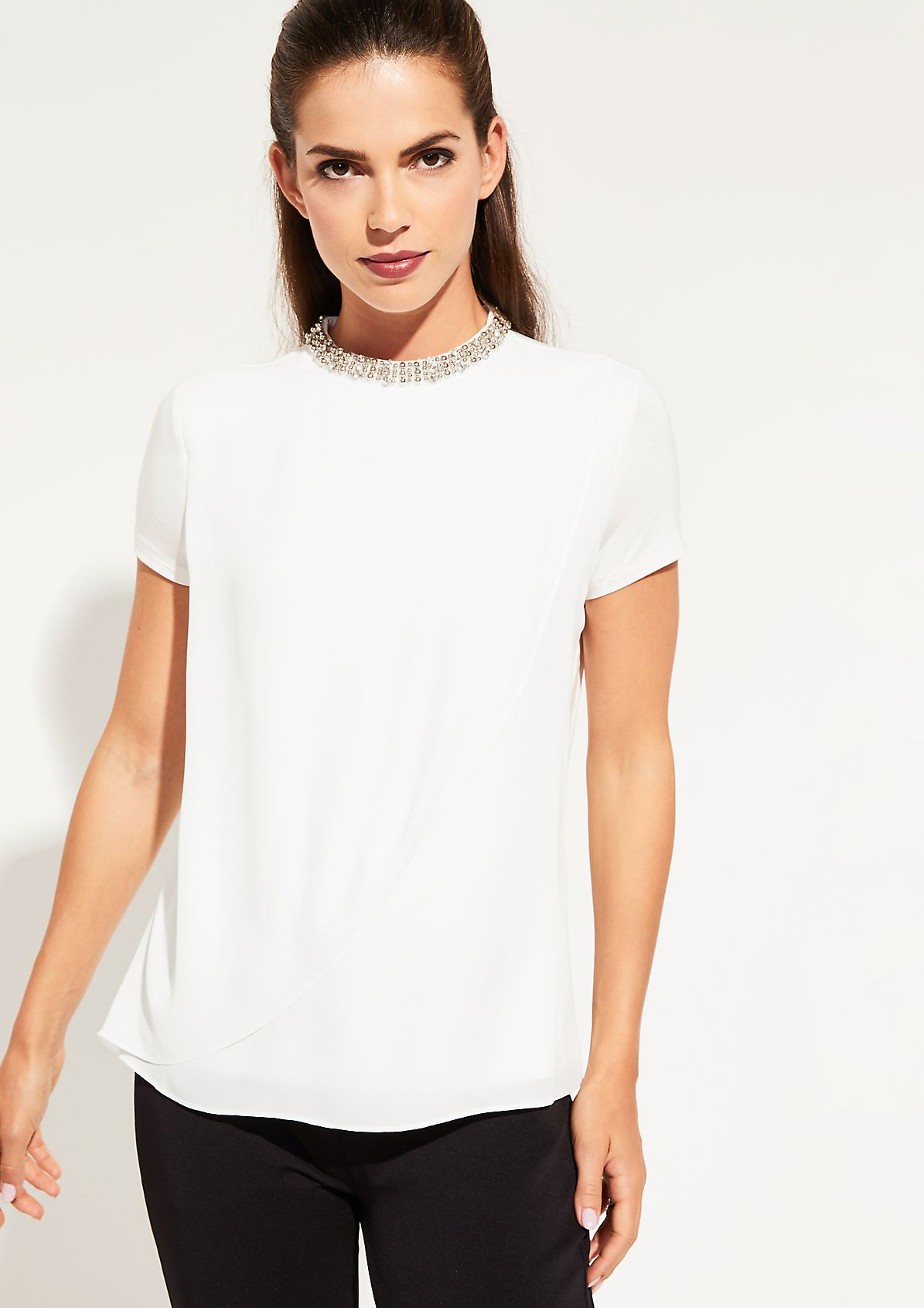 Short sleeve top in an exciting mix of materials from comma