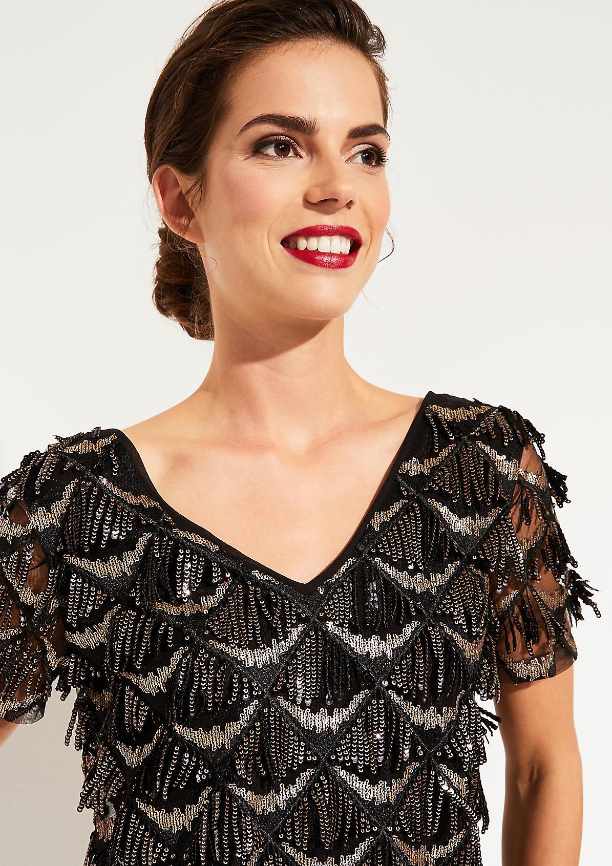 Glamouröse Kurzarmbluse mit glitzernden Pailletten