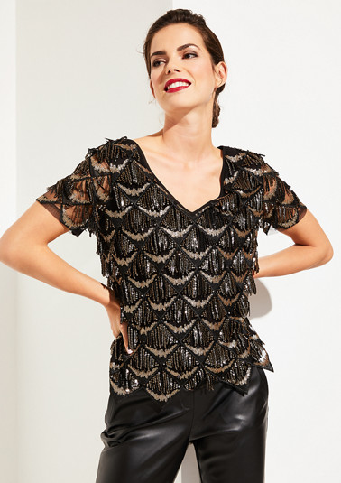 Glamorous short sleeve blouse with glittering sequins from comma