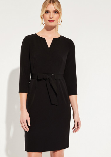 3/4-length sleeve dress with fixed belt elements from comma