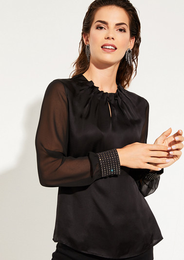 Long sleeve blouse in a fabric blend with Swarovski® crystals from comma