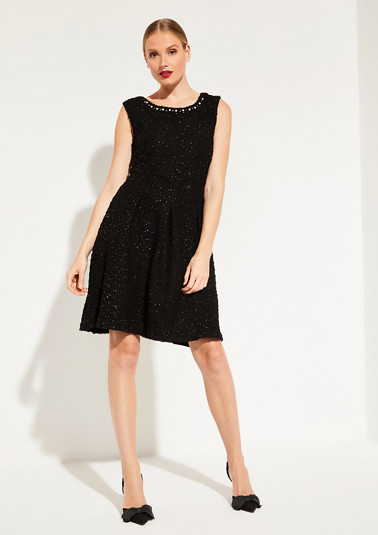 Knit dress with decorative beads and a sequin trim from comma