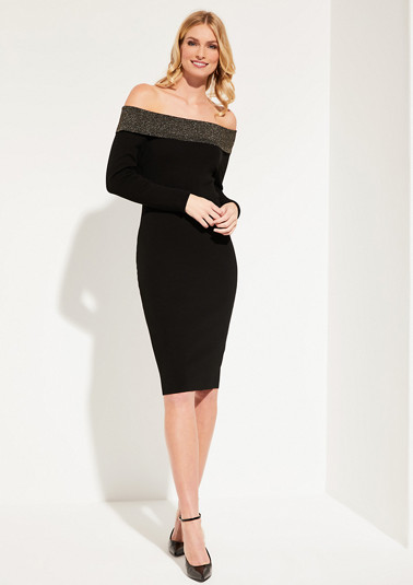 Fine knit dress with a glittering cowl neckline from comma