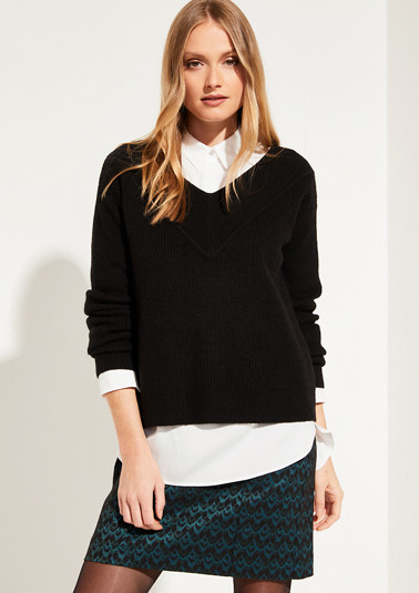 Chunky knit jumper in a ribbed look from comma