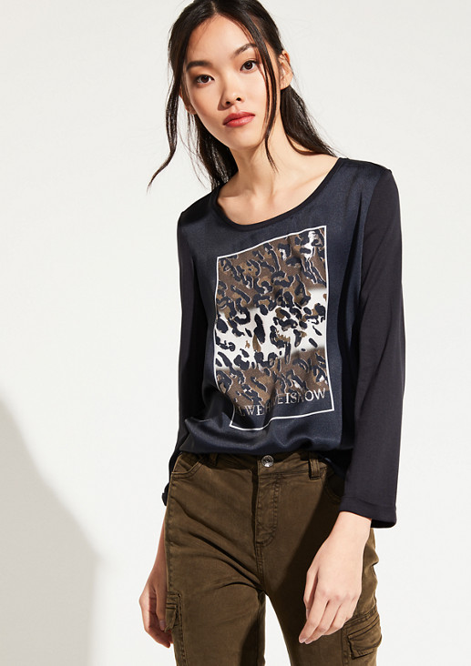 3/4-sleeve top in a sophisticated mix of materials from comma