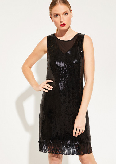 Delicate mesh dress with glamorous decorative sequins from comma