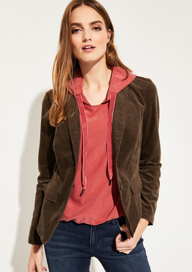 Fine corduroy blazer with elaborately finished details from comma