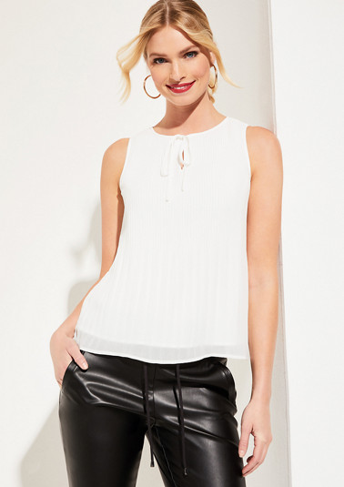 Chiffon top with decorative pleated details from comma