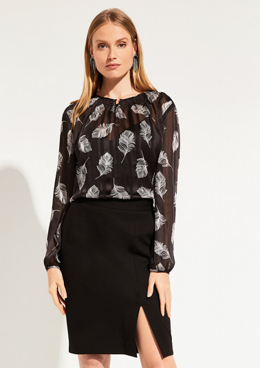 Delicate chiffon blouse with a decorative pattern from comma