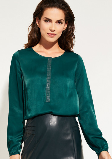 Satin blouse with glittering decorative discs from comma