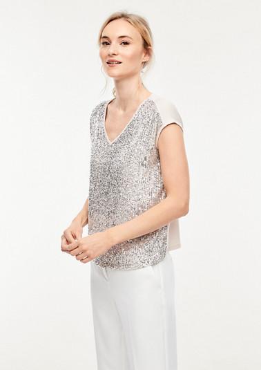 Jerseyshirt mit glitzernden Paillettenverzierungen