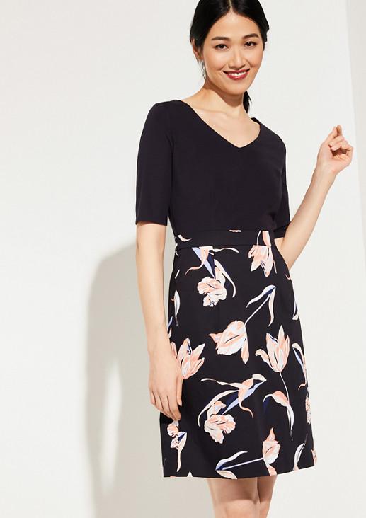 Fabric-Mix-Kleid mit Blumenmuster