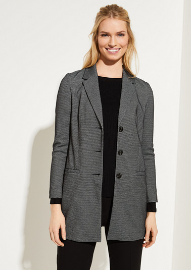 Long blazer with a houndstooth pattern from comma