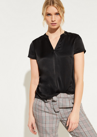 Satin blouse with short sleeves from comma