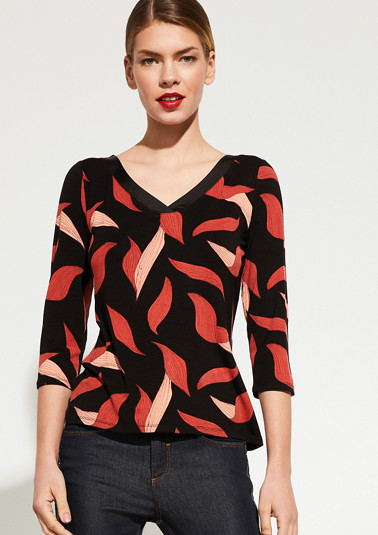Patterned jersey top with 3/4-length sleeves from comma
