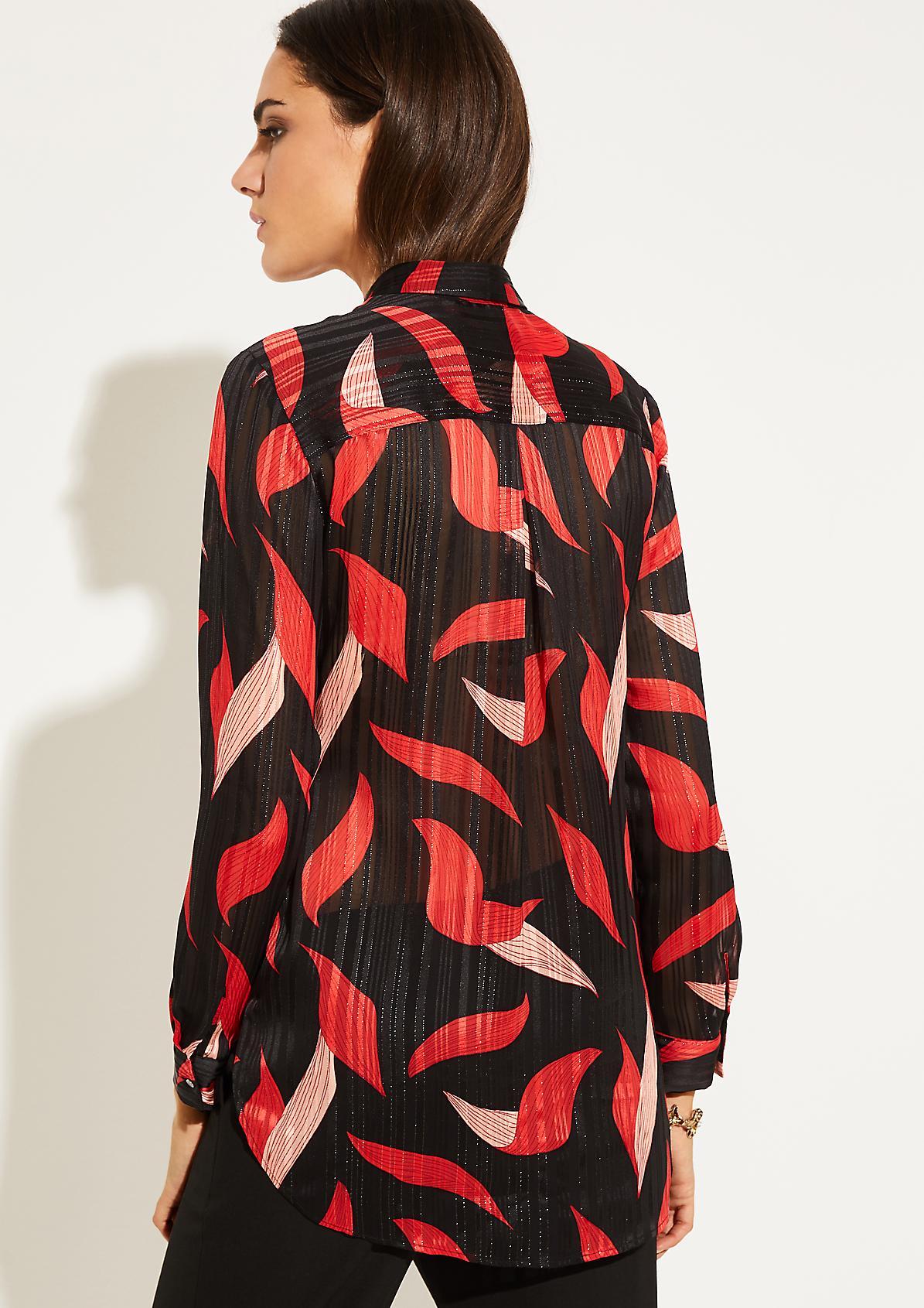 Zarte Langarmbluse mit farbenprächtigem Alloverprint
